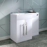 NRG - White Left Hand Bathroom Storage Furniture Combination Vanity Unit Set (No Toilet)