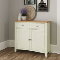 White Painted Compact 2 Door 2 Drawer Sideboard Storage Unit Oak Top Two Tone