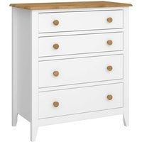 White Painted Two Tone Solid Pine 4 Drawer Chest Large Bedroom Furniture Storage