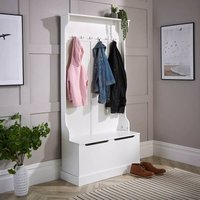 White Painted Wooden Hallway Storage Bench Unit with 6 Coat Hooks Wide Bench