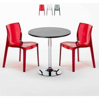 GHOST Set Made of a 70x70cm Black Round Table and 2 Colourful Transparent FEMME FATALE Chairs | Transparent Red - GRAND SOLEIL