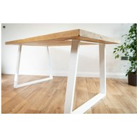 White Trapezium Dining Table 213 cm