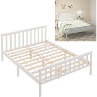 Livingandhome - White Wooden Bed Frame Pine Wood Bedstead, Double 4.6FT