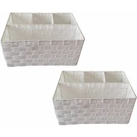 Woven Storage Box Basket Bin Container Tote Organiser Divider For Home Office[White,Set Of 2 (33.5 x 23 x 16.5 cm)]