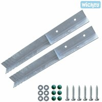 WICKEY Ground anchor post anchor set SolidLock 2 pieces for climbing frame and swing set, angle anchor for play tower and garden fence