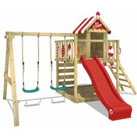 Wooden climbing frame Smart Candy with swing set and red slide, Playhouse on stilts for kids with sandpit, climbing ladder and play-accessories - Wickey