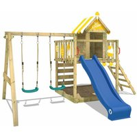 Wooden climbing frame Smart Candy with swing set and blue slide, Playhouse on stilts for kids with sandpit, climbing ladder and play-accessories