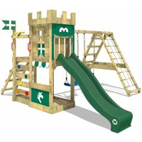 Wooden climbing frame DragonFlyer with swing set and green slide, Knights playcastle with sandpit, climbing ladder and play-accessories - Wickey