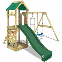 WICKEY Wooden climbing frame FreeFlyer with swing set and green slide, Garden playhouse with sandpit, climbing ladder and play-accessories