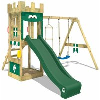 WICKEY Wooden climbing frame KnightFlyer with swing set and green slide, Knights playcastle with sandpit, climbing ladder and play-accessories