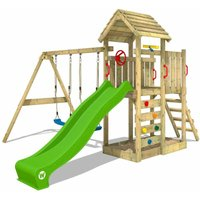 Climbing frame MultiFlyer wooden roof with swing set andapple green slide, Garden playhouse with sandpit, climbing ladder and play-accessories - Wickey