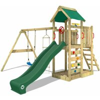 Wooden climbing frame MultiFlyer with swing set and green slide, Garden playhouse with sandpit, climbing ladder and play-accessories - Wickey