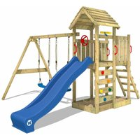 Climbing frame MultiFlyer wooden roof with swing set and blue slide, Garden playhouse with sandpit, climbing ladder and play-accessories - Wickey