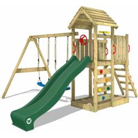 Climbing frame MultiFlyer wooden roof with swing set and green slide, Garden playhouse with sandpit, climbing ladder and play-accessories - Wickey