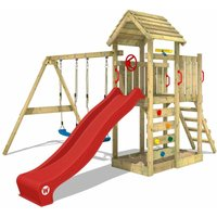 Climbing frame MultiFlyer wooden roof with swing set and red slide, Garden playhouse with sandpit, climbing ladder and play-accessories - Wickey