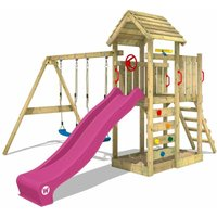 Climbing frame MultiFlyer wooden roof with swing set and purple slide, Garden playhouse with sandpit, climbing ladder and play-accessories - Wickey