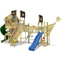 Wooden climbing frame Neverland GOLD with swing set and blue slide, Playhouse on stilts for kids with climbing ladder and play-accessories - Wickey