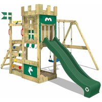 WICKEY Wooden climbing frame RoyalFlyer with swing set and green slide, Knights playcastle with sandpit, climbing ladder and play-accessories