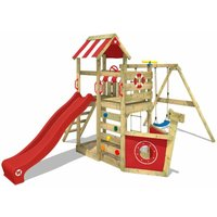 WICKEY Wooden climbing frame SeaFlyer with swing set and red slide, Playhouse on stilts for kids with sandpit, climbing ladder and play-accessories