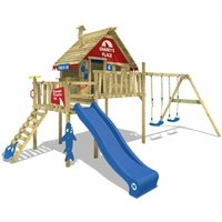 Wooden climbing frame Smart Bay with swing set and blue slide, Playhouse on stilts for kids with climbing ladder and play-accessories - Wickey