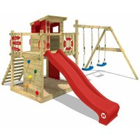 WICKEY Wooden climbing frame Smart Camp with swing set and red slide, Playhouse on stilts for kids with sandpit, climbing ladder and play-accessories