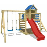 Wooden climbing frame Smart Cave with swing set and red slide, Playhouse on stilts for kids with sandpit, climbing ladder and play-accessories - Wickey