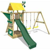 Wooden climbing frame Smart Chase with swing set and green slide, Playhouse on stilts for kids with sandpit, climbing ladder and play-accessories