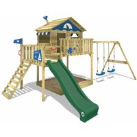 Climbing frame Smart Coast with green swing, slide, climbing wall - Wickey