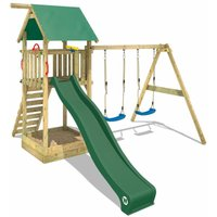 WICKEY Wooden climbing frame Smart Empire with swing set and green slide, Garden playhouse with sandpit, climbing ladder and play-accessories