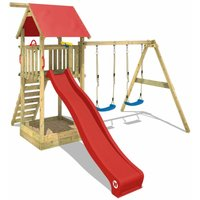 Wooden climbing frame Smart Empire with swing set and red slide, Garden playhouse with sandpit, climbing ladder and play-accessories - Wickey