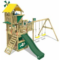 Wooden climbing frame Smart Engine with swing set and green slide, Playhouse on stilts for kids with sandpit, climbing ladder and play-accessories