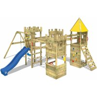 WICKEY Wooden climbing frame Smart Excalibur with swing set and blue slide, Knights playcastle with sandpit, climbing ladder and play-accessories