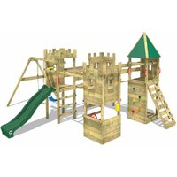 WICKEY Wooden climbing frame Smart Excalibur with swing set and green slide, Knights playcastle with sandpit, climbing ladder and play-accessories