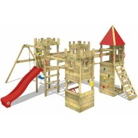 WICKEY Wooden climbing frame Smart Excalibur with swing set and red slide, Knights playcastle with sandpit, climbing ladder and play-accessories