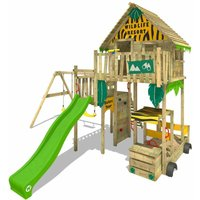 Wooden climbing frame Smart Explore with swing set and apple green slide, Playhouse on stilts for kids with sandpit, climbing ladder and