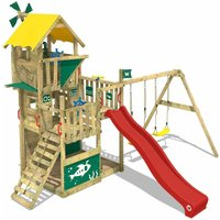 SUPERSALE Wooden climbing frame Smart Flight with swing set and red slide, Playhouse on stilts for kids with sandpit, climbing ladder and