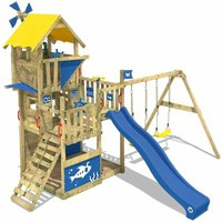 WICKEY SUPERSALE Wooden climbing frame Smart Flight with swing set and blue slide, Playhouse on stilts for kids with sandpit, climbing ladder and