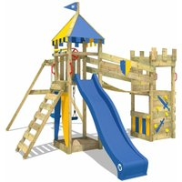 Wooden climbing frame Smart Hero with swing set and blue slide, Knights playcastle with sandpit, climbing ladder and play-accessories - Wickey
