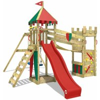WICKEY Wooden climbing frame Smart Hero with swing set and red slide, Knights playcastle with sandpit, climbing ladder and play-accessories