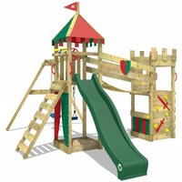 WICKEY Wooden climbing frame Smart Hero with swing set and green slide, Knights playcastle with sandpit, climbing ladder and play-accessories