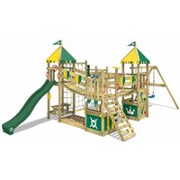 WICKEY Wooden climbing frame Smart King with swing set and green slide, Knights playcastle with sandpit, climbing ladder and play-accessories