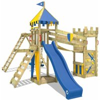 WICKEY Wooden climbing frame Smart Legend 150 with swing set and blue slide, Knights playcastle with sandpit, climbing ladder and play-accessories