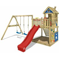 WICKEY Wooden climbing frame Smart Lodge 120 with swing set and red slide, Playhouse on stilts for kids with sandpit, climbing ladder and