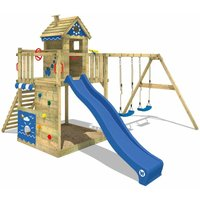 Wooden climbing frame Smart Lodge 150 with swing set and blue slide, Playhouse on stilts for kids with sandpit, climbing ladder and play-accessories