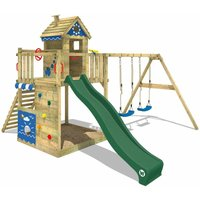 WICKEY Wooden climbing frame Smart Lodge 150 with swing set and green slide, Playhouse on stilts for kids with sandpit, climbing ladder and