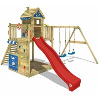 Wooden climbing frame Smart Lodge 150 with swing set and red slide, Playhouse on stilts for kids with sandpit, climbing ladder and play-accessories