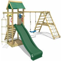 Wooden climbing frame Smart Park with swing set and green slide, Garden playhouse with sandpit, climbing ladder and play-accessories - Wickey
