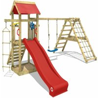 WICKEY Wooden climbing frame Smart Park with swing set and red slide, Garden playhouse with sandpit, climbing ladder and play-accessories