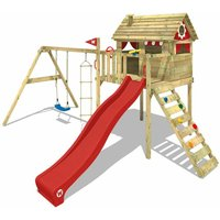Wooden climbing frame Smart Plaza with swing set and red slide, Playhouse on stilts for kids with climbing ladder and play-accessories - Wickey