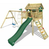 Wooden climbing frame Smart Plaza with swing set and green slide, Playhouse on stilts for kids with climbing ladder and play-accessories - Wickey
